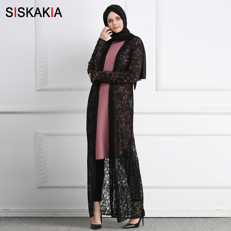Headlamps Siskakia Lace Cardigan Outerwear Women Sunscreen Cover Up Ankle Length Muslim Abaya Kaftans And Jubah Black White 2018 Female Clear-Cut Texture Portable Lighting