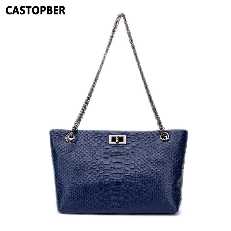 Designer Women serpentine Pattern Bag Genuine Leather Cowhide Chain Handbags Shoulder Bags Crossbody Ladies High Quality Famous