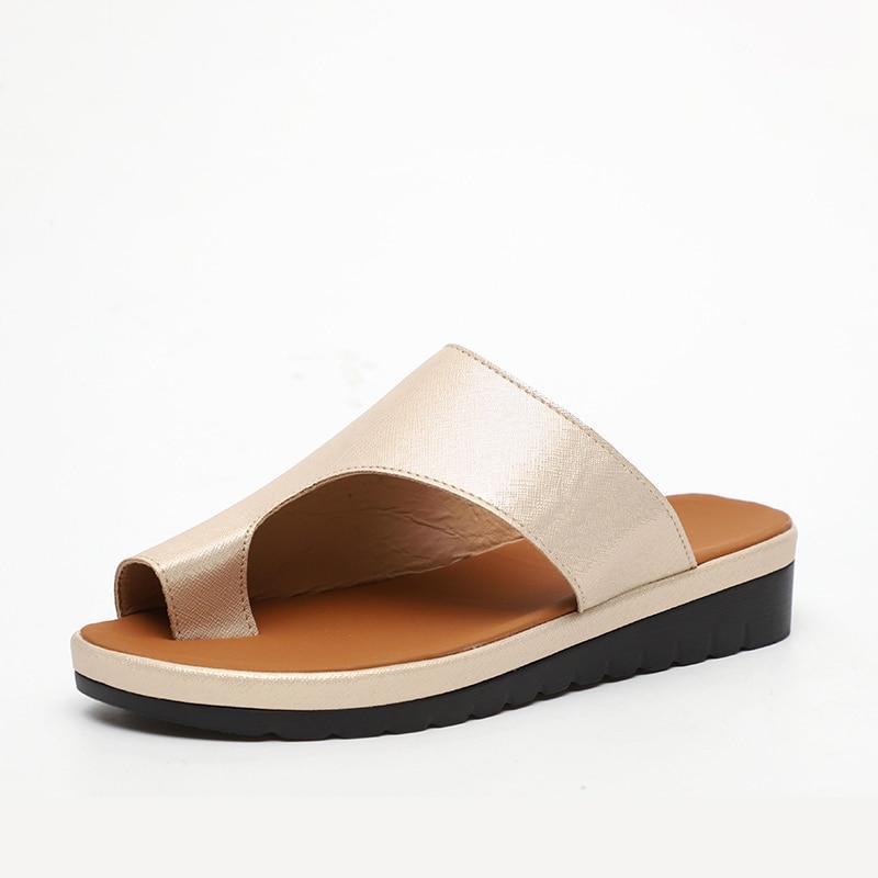 MCCKLE Women Comfy Plain Shoes Flat Platform Ladies Casual Big Toe Foot Correction Sandals Orthopedic Bunion MCCKLE Women Comfy Plain Shoes Flat Platform Ladies Casual Big Toe Foot Correction Sandals Orthopedic Bunion Corrector Flip Flop