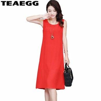 165ae4515 TEAEGG flojo Vestidos Mujer Casual vestido rojo gasa Laides Vestidos Tallas  grandes ropa de verano para las mujeres vestido Femme 4XL AL1078