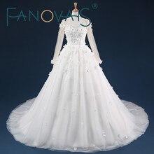 Hot Sale Luxury Soft Tulle Hand Made Flower V Neck Beads Crystal Custom Size Wedding Dresses 2017 Long Sleeves Bridal Dress