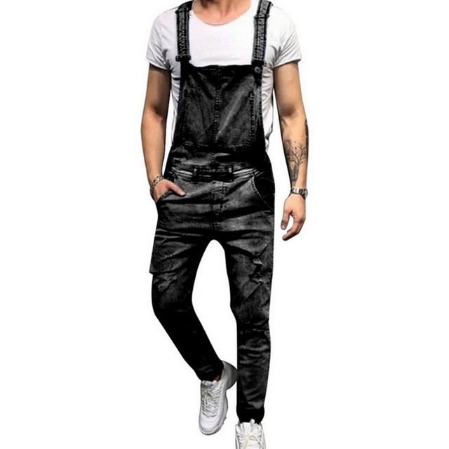 HEFLASHOR 2019 Spring Fashion Men's Ripped Jeans Jumpsuits Street Distressed Denim Bib Overalls For Male Suspender Pants