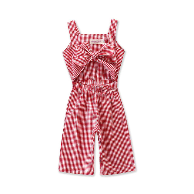 Летняя одежда для маленьких девочек Комбинезон Весна красная сетка печати комбинезон Пляжный наряд детская одежда