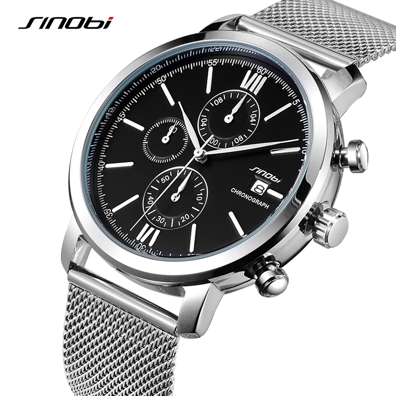 SINOBI Men Watches Sports Chronograph Men's Wrist Watches with Week Display Date Full Steel Top Brand Luxury Relogio Masculino