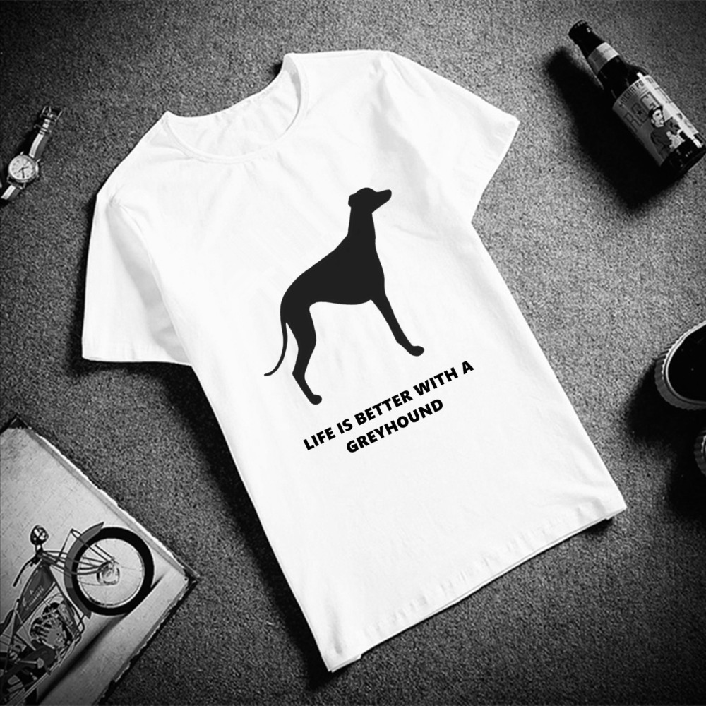 Fashion Short Sleeve T Shirt Men Greyhound Dog Simple Printed 100% Cotton Top Tees Men Casual O Neck T-Shirt Unisex TShirt
