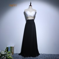 White&Black Evening Dress Sweetheart Pleats Beading A Line Long Prom Party Gowns