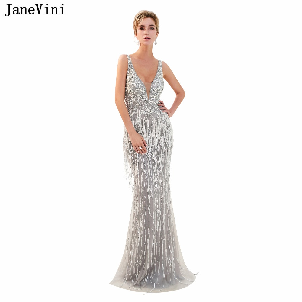JaneVini Luxury Beading Sequined Mermaid Bridesmaid Dresses Floor Length Deep V Neck Backless Sexy Tulle Long Prom Party Gowns