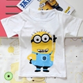 FASHION New anime figure despicable me minions clothes minion T-shirt cartoon o-neck short sleeve children's clothing retail