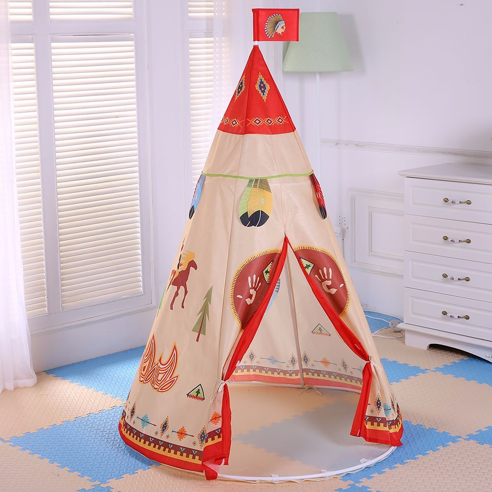 160 x 105cm Children Indian Toy Teepee Safety Tent Portable Play House Kids Indoor Game Room Outdoor mrpomelo children indoor indian teepee play house solid blue garden game playhouse 100