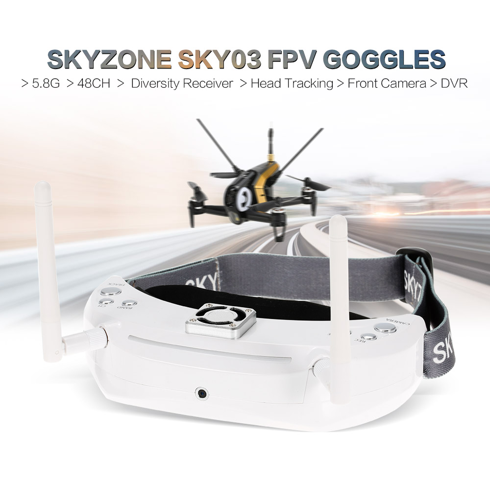 Skyzone SKY03 FPV Goggles 5.8G 48CH 3D Diversity Receiver with Head Tracking Front Camera DVR For RC Racing Drone цены
