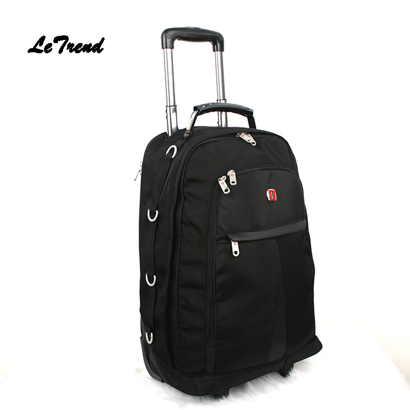 Letrend Men Oxford Rolling Luggage Travel Bag Suitcases Wheels Student Backpack large capacity Trolley 20 inch Carry On Trunk