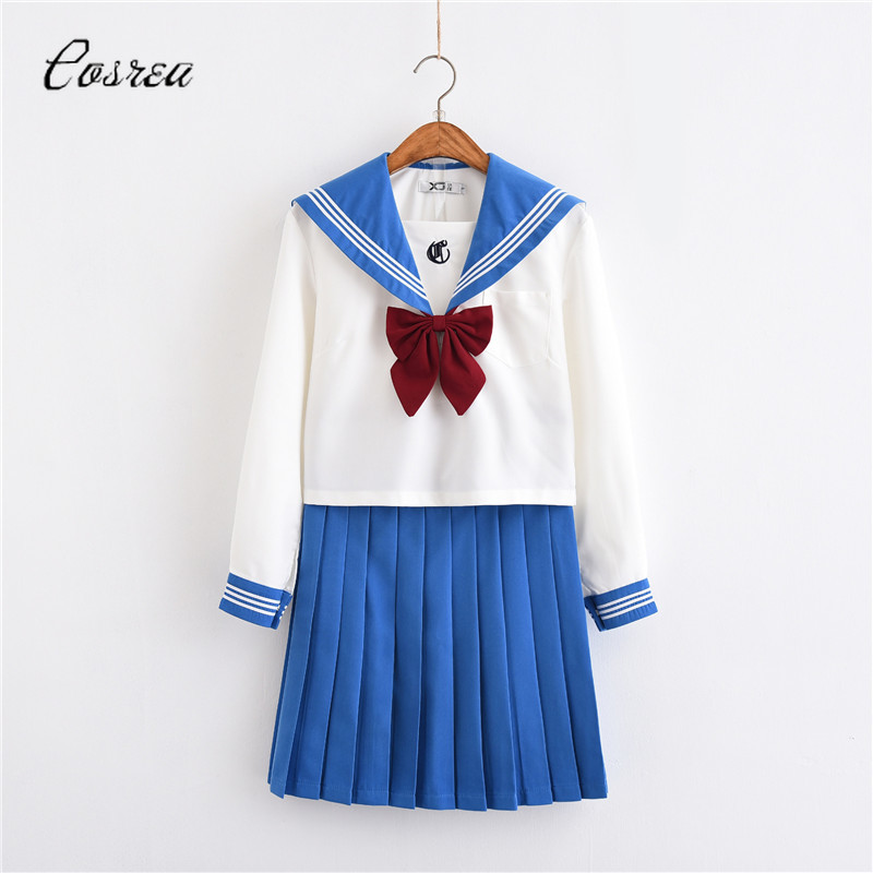 Adult Sailor Moon Costumes School Uniforms Japanese JK Party Dress Girls Summer Dress Suit Girl Skirts Long Sleeve White Blouse