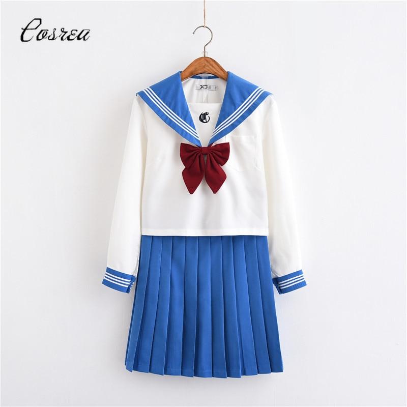 Adult Sailor Moon Costumes School Uniforms Japanese JK Party Dress Girls Summer Dress Suit Girl Skirts Long Sleeve White Blouse