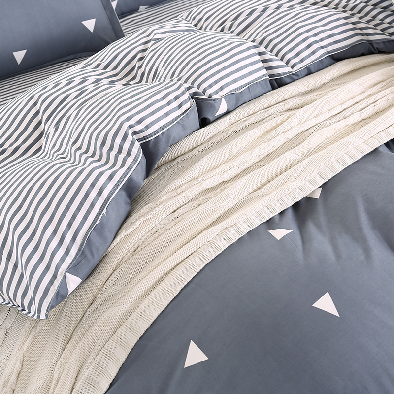 gray stripes bedding bed sets queen king twin size kids 45 pcs triangle geometric quilt duvet cover boys bedsheets bedding sets from home