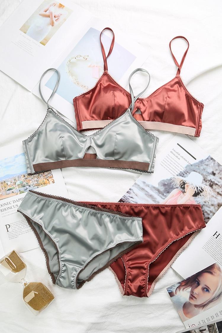 TERMEZY New Women Underwear Wire Free satin bra thin Triangle cups Bra and Panty Set Hollow Lingerie Women Brassiere Bralette  (11)