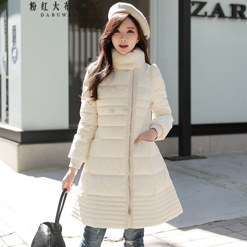 original 2017 brand winter down jacket new fashion rabbit fur collar zipper elegant vintage warm coat women wholesale