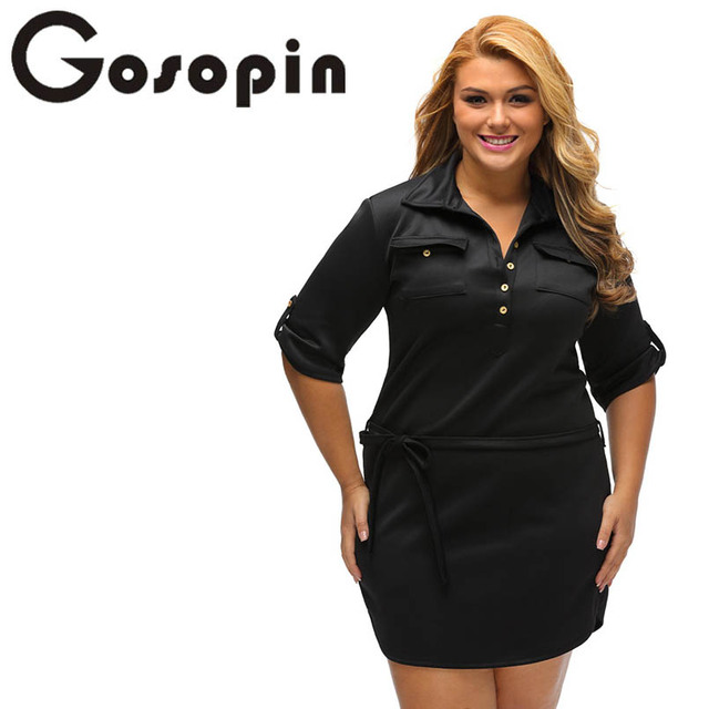 Gosopin Vintage Autumn Black Plus Size Belted Textured Shirt Dress