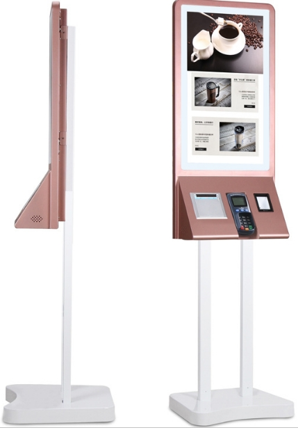Customized Wireless Remote Control Restaurant Self Service Food Ordering touch interactive terminal kiosk machines with printer web page