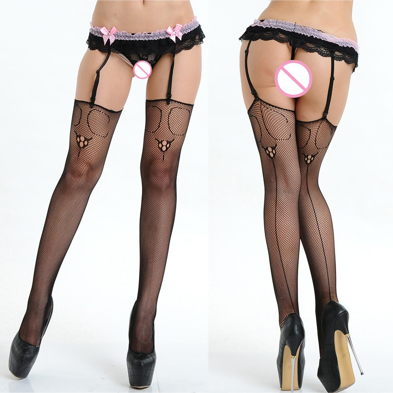 Hot Sale Pink Bow Suspenders Fishnet Tights Black Mesh Sexy Stockings Women Garter Belt Pantyhose Open Crotch Sexy Lingerie 022