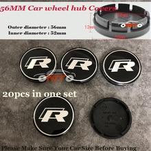 Centro da roda Auto cobre 56mm R Logo emblema PARA VW Passat B6 B7 CC Golf Jetta MK5 MK6 Emblema Da Roda de Carro hub Caps Etiquetas 20 pcs