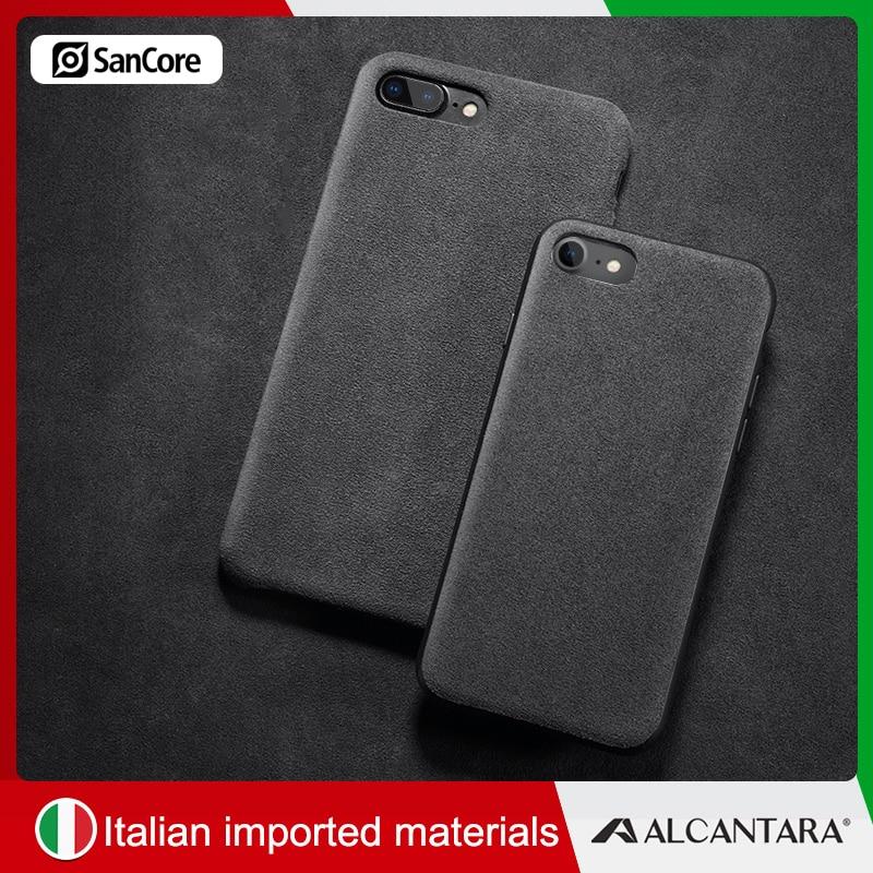 innovative design e199c e2c4f SanCore ALCANTARA Leather Phone Case Phone Bag for iPhone 7/8 Plus Business  TPU CellPhone Case for iPhone 7 8 Phone Case Cover