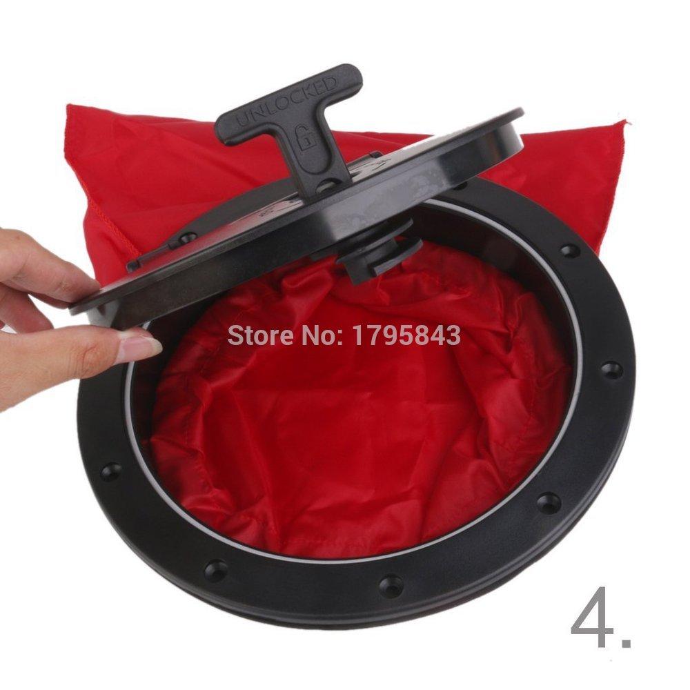 Bien Educado Kit De Placa De Cubierta De 8 Pulgadas Negro Y Rojo Y Bolsa Impermeable Para Kayak De Barco Marino