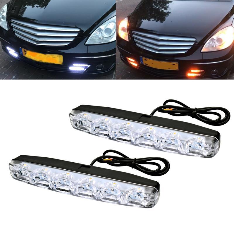 2PCS 6 LED Car Daytime Running Light For Mercedes Benz AMG Waterproof DRL Kit Day Light Auto Driving Light External Light Lamp in Car Light Assembly from Automobiles Motorcycles