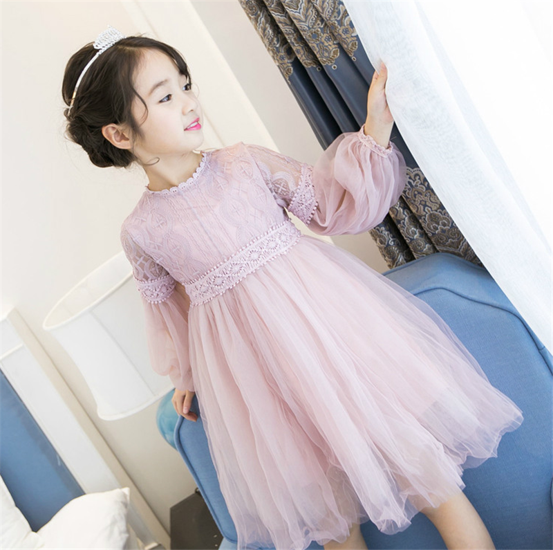 Baby Girls Dresses Clothes 2018 New Spring Autumn Long Sleeve Princess Dress Lace Ball Gown Kids Dress Infant Clothes 3ds021 2015 new spring autumn korea style girls cute leather lace patchwork princess long sleeve dresses baby boutique dress