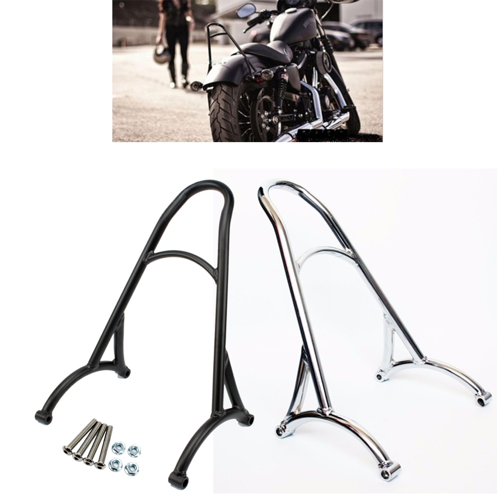 Burly Chrome Black Short Sissy Bar Backrest For Harley Sportster 883 1200 XL XL883 XL1200 04 05 06 07 08 09 10 11 12 13 14 15 16 motorcycle accessories cnc derby timing timer cover for harley sportster xl883 xl1200 2004 2005 06 07 08 09 2010 2011 2014 black