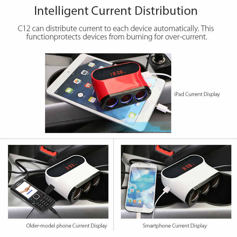 VANJEW C12 Car Cigarette Lighter 3 Way  Sockets Power Adapter 2 USB Ports Car Charger Splitter Lighters 5V 3.1A Output Power