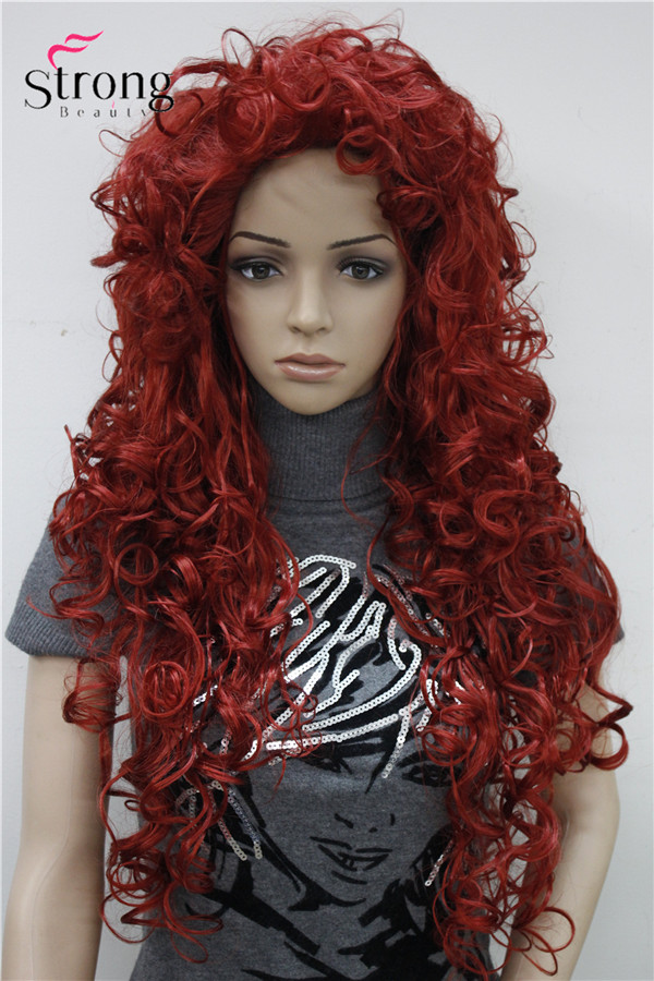 Image 2 - StrongBeauty Long Curly Red Synthetic Wig Cosplay Wigs COLOUR CHOICESchoice   -