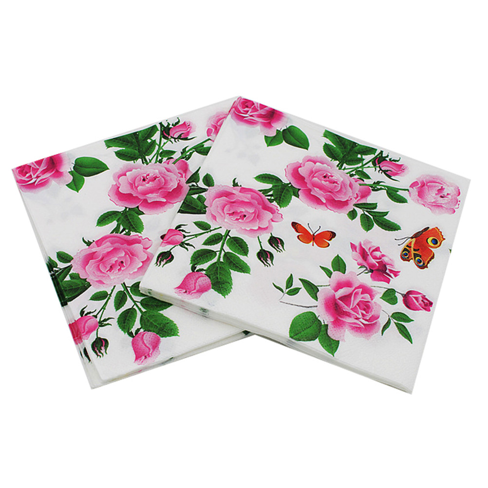 20pcs/pack/lot Floral Paper Napkins Flower Festive & Party Tissue Napkins Decoupage Decoration Paper 33*33cm