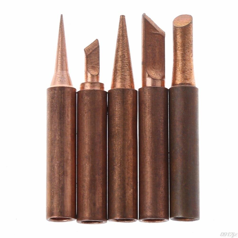 5 Pcs Pure Copper 900M-T Soldering Iron Tip Lead-free For Hakko Soldering Rework Station Soldering Tips
