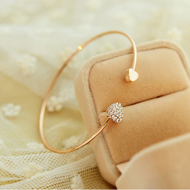 2019 Hot New Fashion Adjustable Crystal Double Heart Bow Bilezik Cuff Opening Bracelet For Women Jewelry