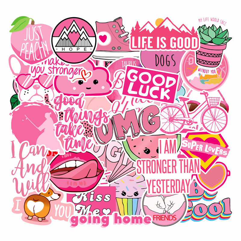 40Pcs PVC Waterproof Girls Kawaii Pink Fun Sticker Toys Luggage Stickers For Moto Car & Suitcase Cool Fashion Laptop Stickers F4
