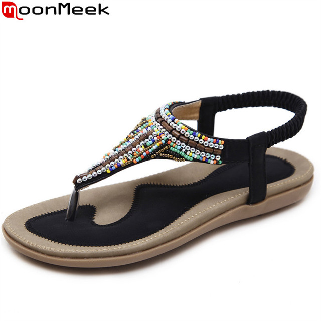 MoonMeek 2018 fashion new arrival summer shoes woman big size 35-42 casual comfortable ethnic style sandals women black