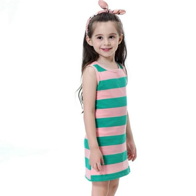 Summer Teenagers Clothes Big Baby Girls Dress Striped Sleeveless Fashion Sundress For Girl School Kids Children Dresses 3-12Year