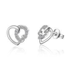 цена Romantic Love Heart Shiny Crystal 925 Sterling Silver Ladies Stud Earrings Original Jewelry For Women Anti Allergy в интернет-магазинах