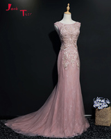 Jark Tozr 2018 New Special Robe De Soiree Beading Pearls Pink Lace Mermaid Formal Evening Dresses