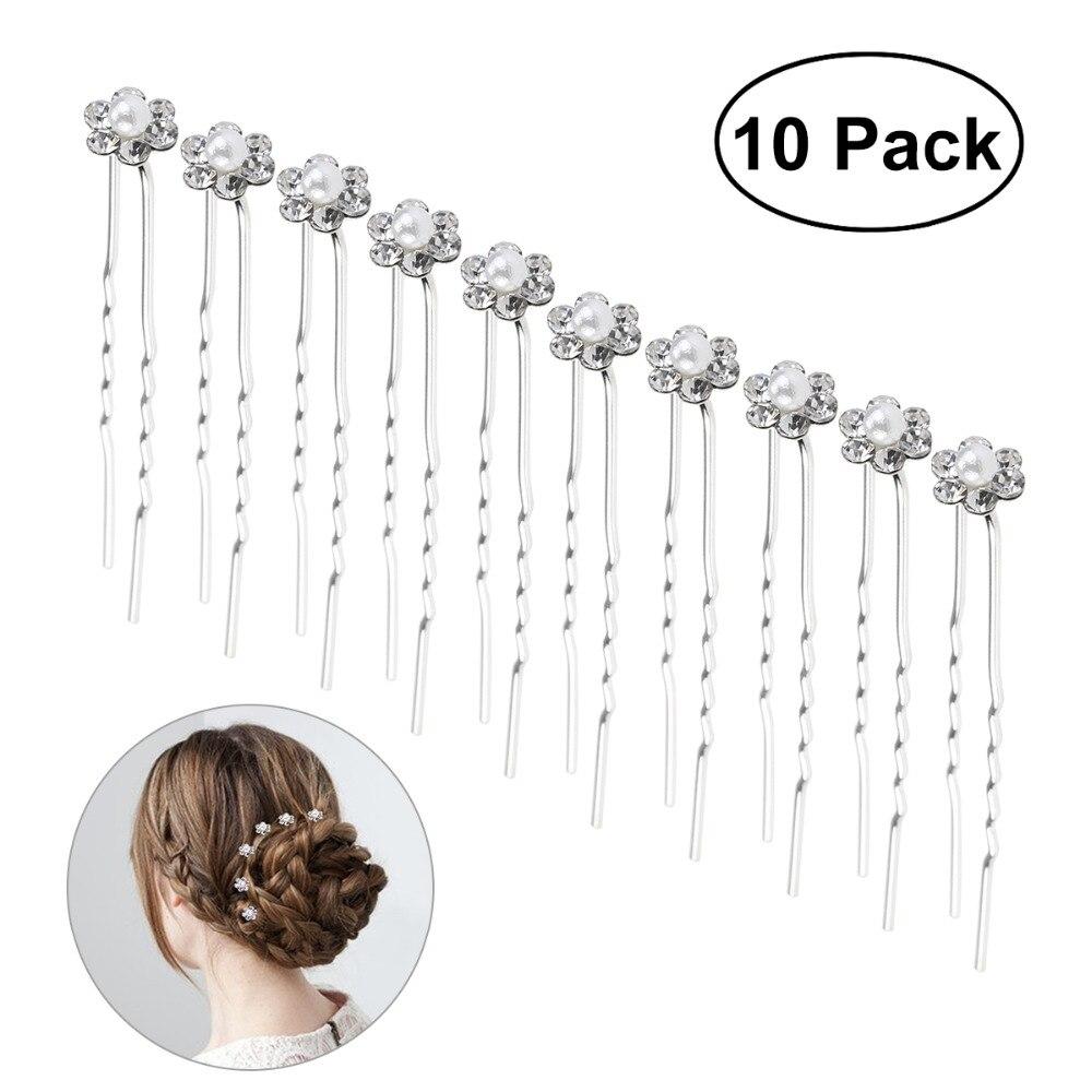 10pcs Women Hair Clip Bridal Pearl Rhinestone Decorated U-Shaped Hairpins Pins Bridesmaid Hairwear Jewelry Hair Accessories