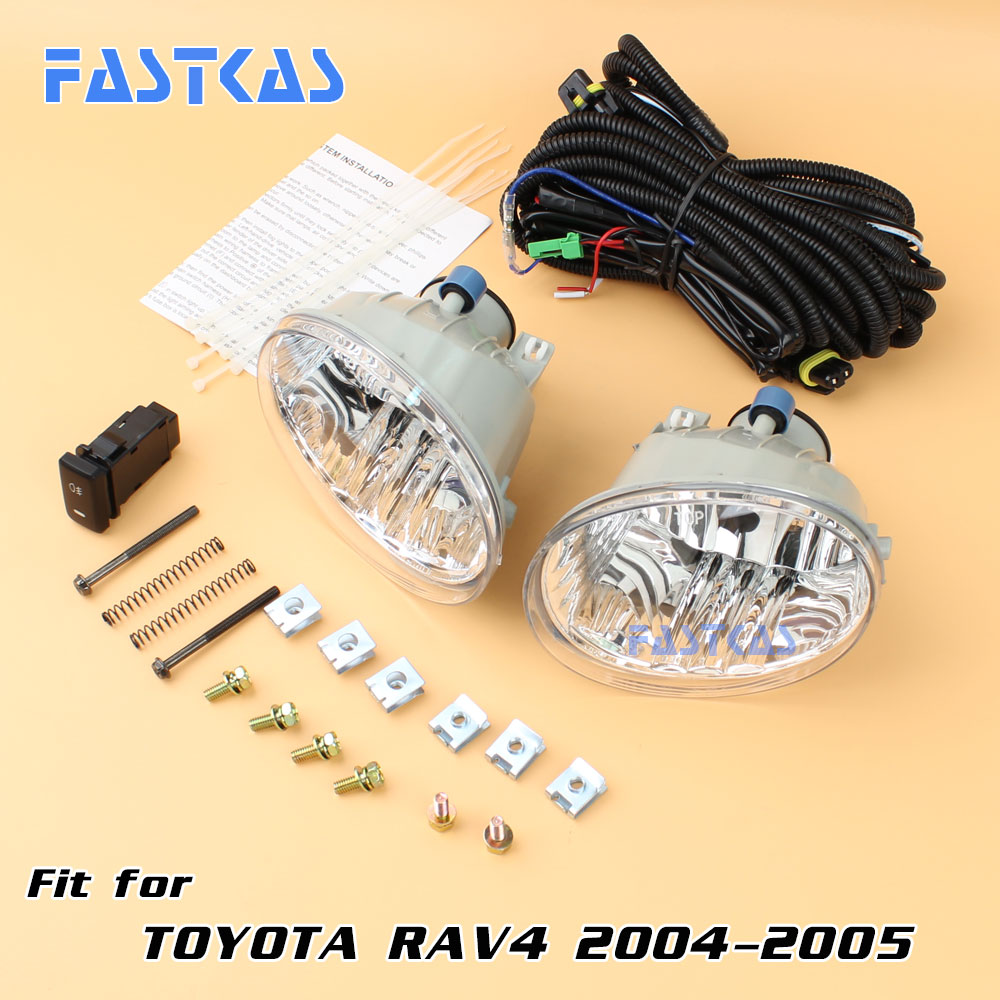 12v Car Fog Light Assembly for Toyota RAV4 2004-2005 Front Left and Right set Fog Light Lamp with Harness Relay Fog Light 2 pcs set car styling front bumper light fog lamps for toyota venza 2009 10 11 12 13 14 81210 06052 left right