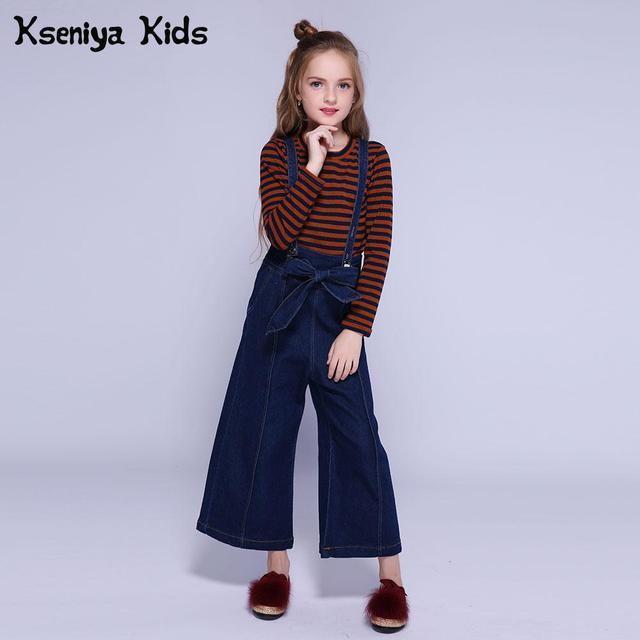 Kseniya Kids Girls Sweatshirt+Overalls 2 Piece Set Girl Clothes Cotton Long Sleeve Shirt Denim Trousers Girls Clothing Sets