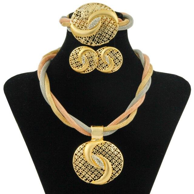 e08c69db6bcb Бесплатная купон новогодние подарки Италия африканские невесты свадебные  обручение Ювелирные наборы ожерелье серьги браслет Дубай золотые