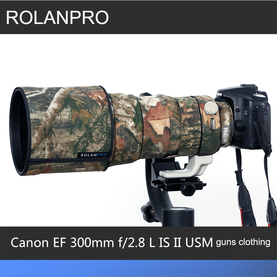 ROLANPRO Lens Bag Camouflage Rain Cover Canon EF 300mm f/2.8 L IS II USM Lens Protective Sleeve Guns Case DSLR Bag Camera Case rolanpro lens camouflage rain cover for canon ef 200mm f 2 l is usm lens protective case guns cotton clothing