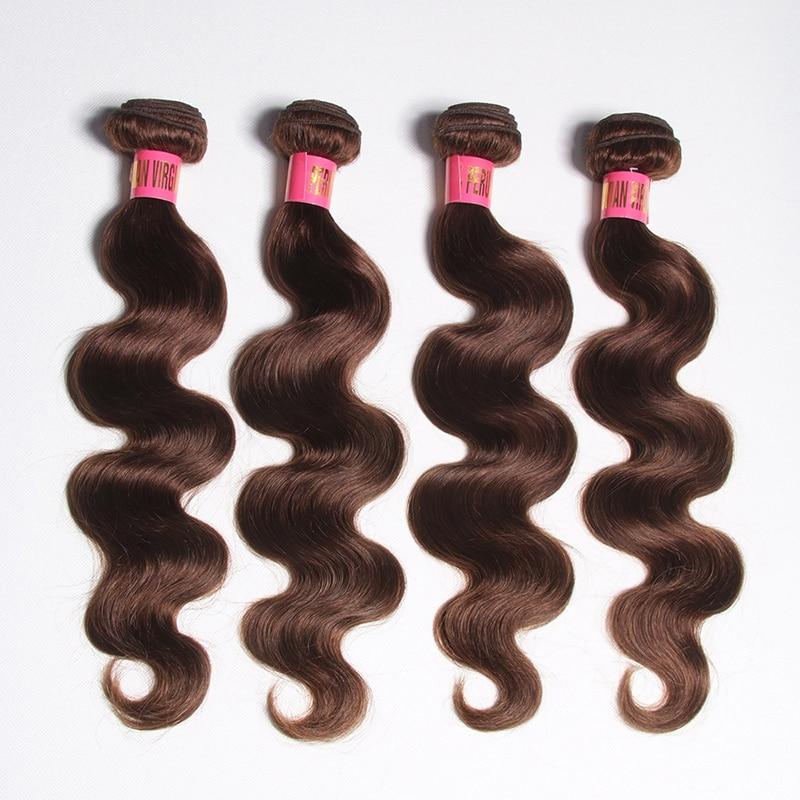 SATAI Body Wave Hair 4 Bundles Dark Brown Colored Human Hair Bundles Brazilian Hair Weave Bundles Non Remy Hair Extensions