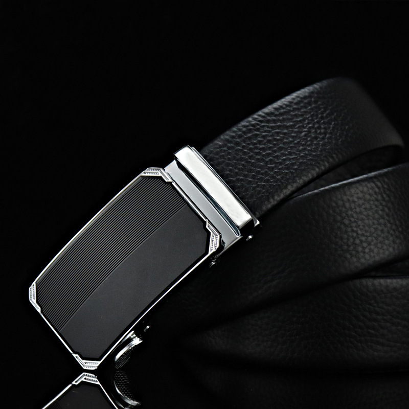 New acrylic face luxury brand mens leather belt high quality automatic buckle black metal