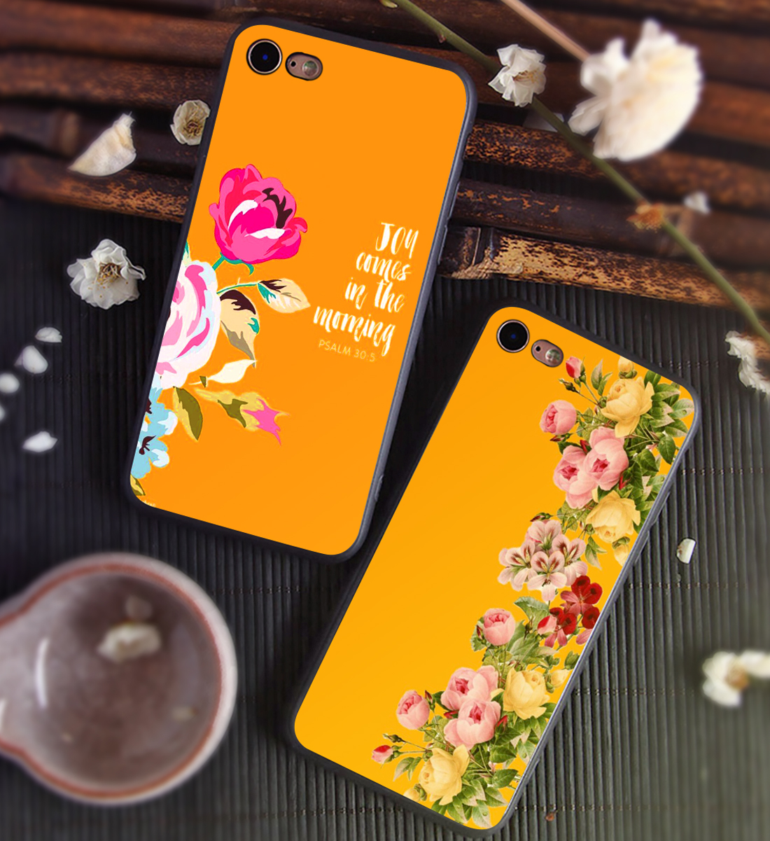 Yellow Floral classic Art phone case black soft cover for Samsung s8 s9plus S6 S7Edge S5 for iPhone 6 6s 7 8plus 5 X XS XR XSMax in Half wrapped Cases from Cellphones Telecommunications
