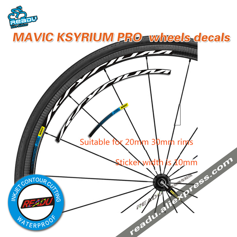mavic KSYRIUM PRO Road Bike Wheelset stickes decals <font><b>bicycle</b></font> <font><b>Wheel</b></font> rims stickers width is 10mm Suitable 20-30 rims for two <font><b>wheel</b></font> image