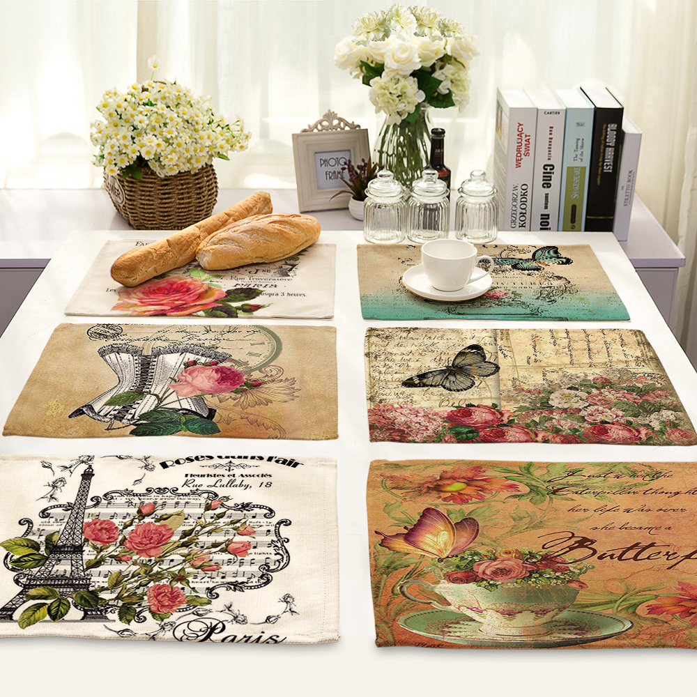 vintga flower Eiffel Tower Pattern Table Mat Animal Table Napkin Placemat Kitchen Decoration Dining Accessories 42x32cm MA0068