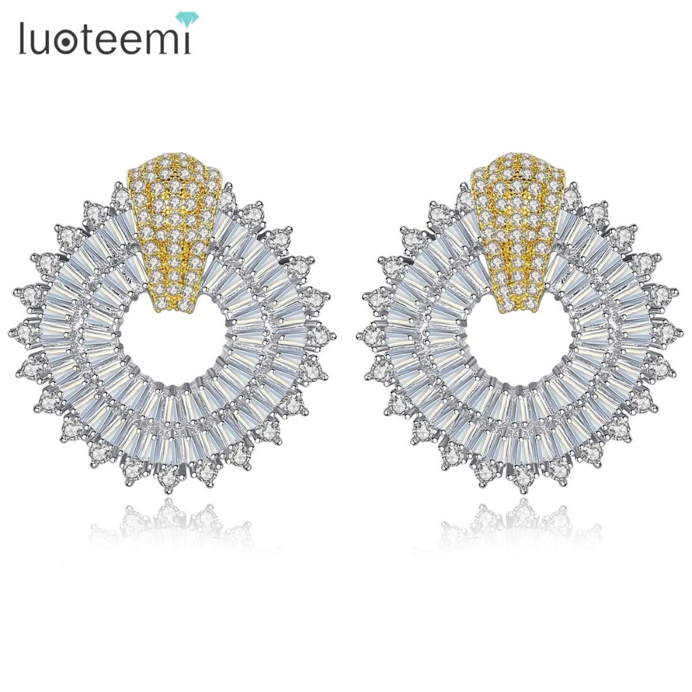 LUOTEEMI Elegant Square Stud Earrings Luxury Cubic Zirconia Women Earrings for Wedding and Party Double Color